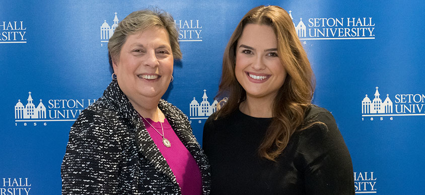 Patricia Frele '73/MBA '79 with one of her scholarship recipients.