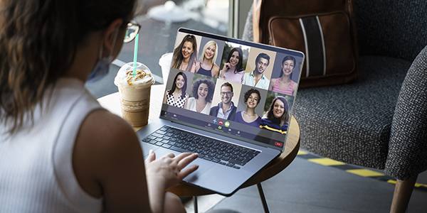 Laptop with group video call